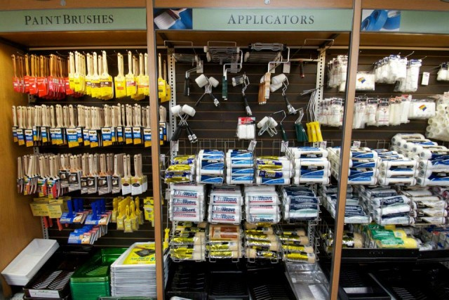 Different sizes of the Paint Brushes and Applicators displayed on the wall
