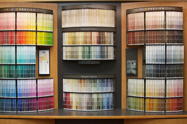 Colourful samples according to shades displayed nicely on the wall