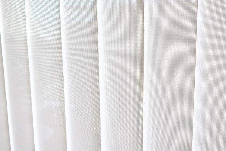 Close up white luminette shades with mesh details