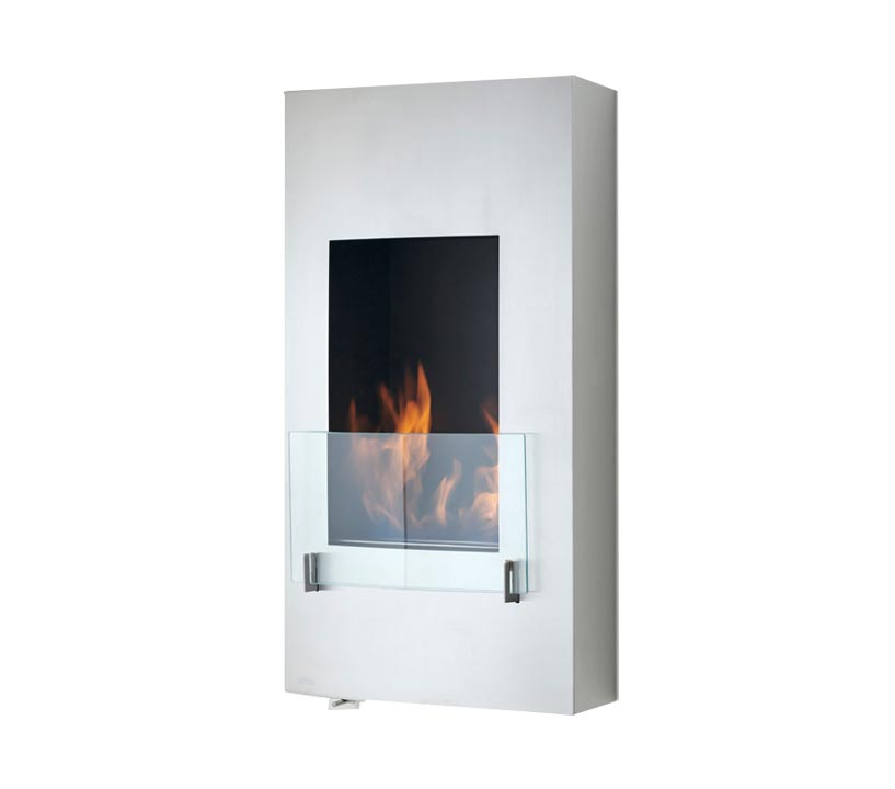 A modern vertical fireplace with flame and glass coverings glass coverings on the front