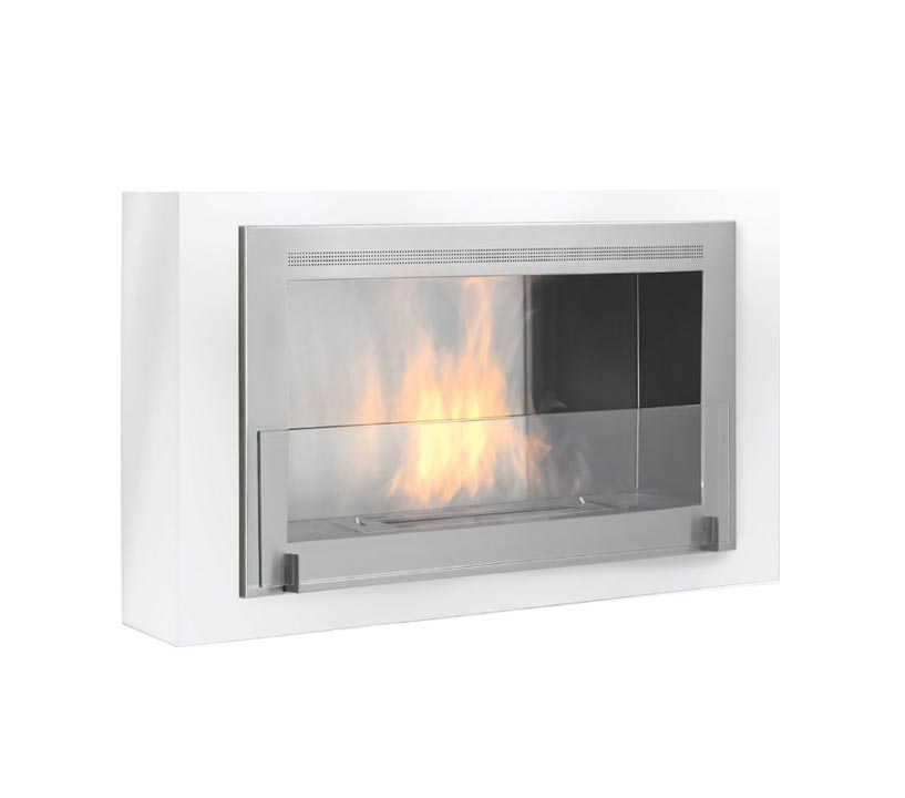 A square shape modern fireplace product with flame example with glass coverings on the front