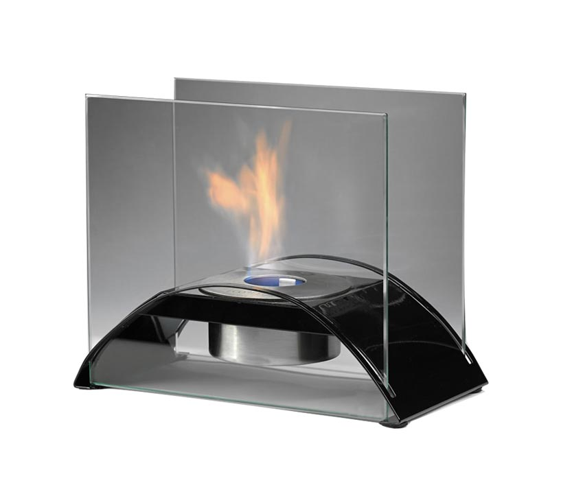 Unique modern fireplace with half moon shape support and two square covering on the side by side